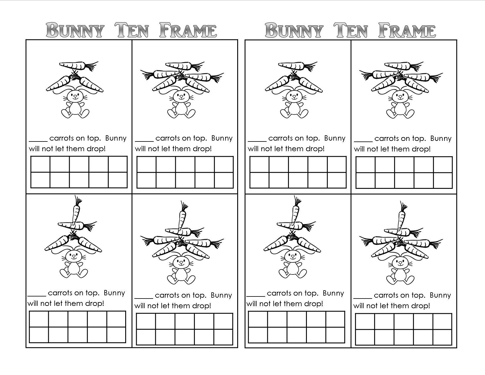 Bunny Time Ten Frame! (Free Printables) - Teaching Heart Blog | Frame Games Printable Worksheets