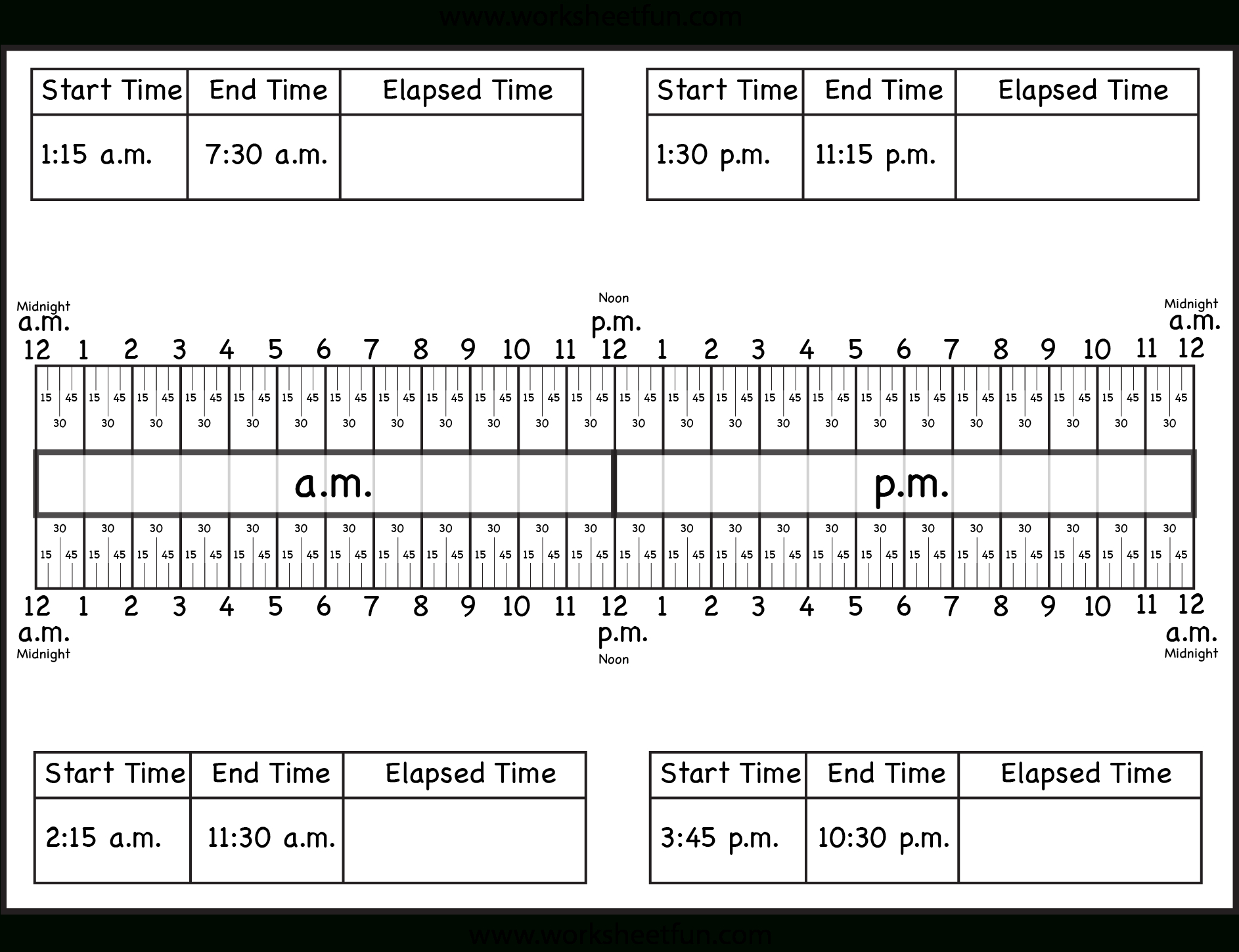 Calculate Elapsed Time – 5 Worksheets – 15, 30, 45, 60 Minutes | Elapsed Time Worksheets Free Printable