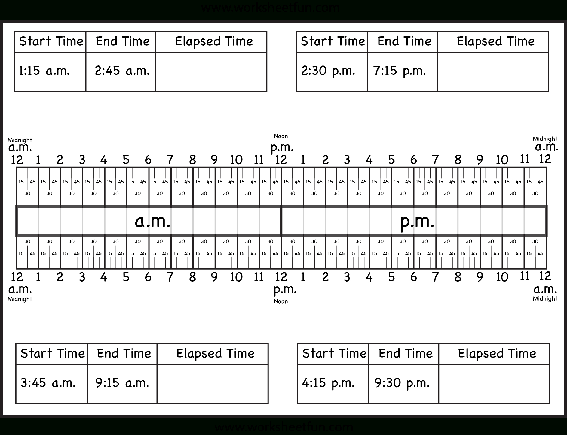 Calculate Elapsed Time – 5 Worksheets – 15, 30, 45, 60 Minutes | Free Printable Elapsed Time Worksheets For Grade 3