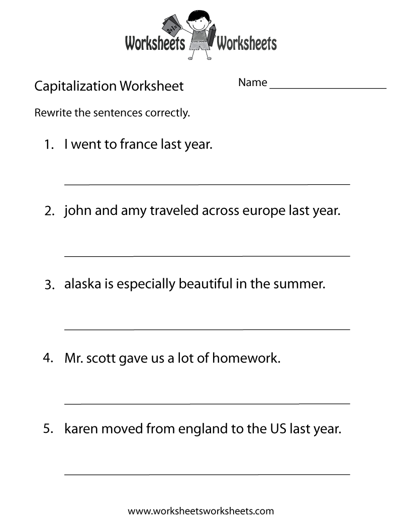 Capitalization Worksheets   Capitalization Practice Worksheet - Free   Free Printable Third Grade Grammar Worksheets
