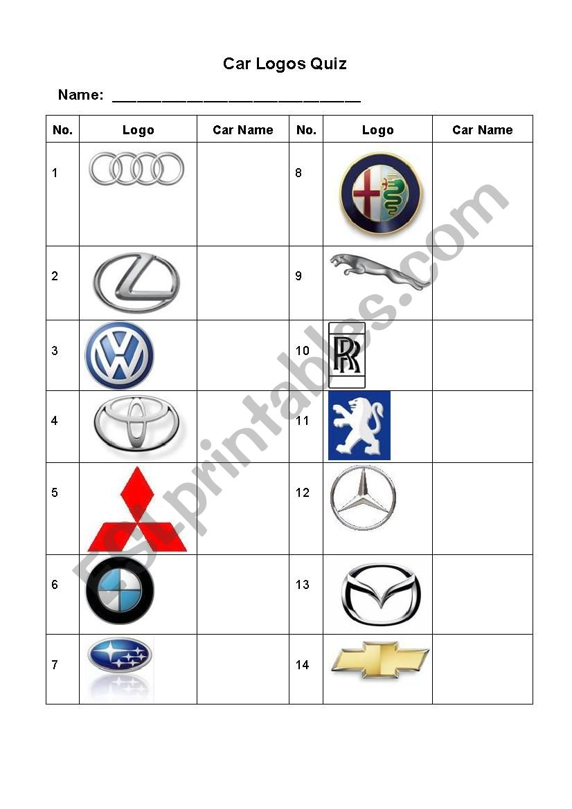 Car Logos Quiz - Esl Worksheetrenda | Printable Logo Quiz Worksheet