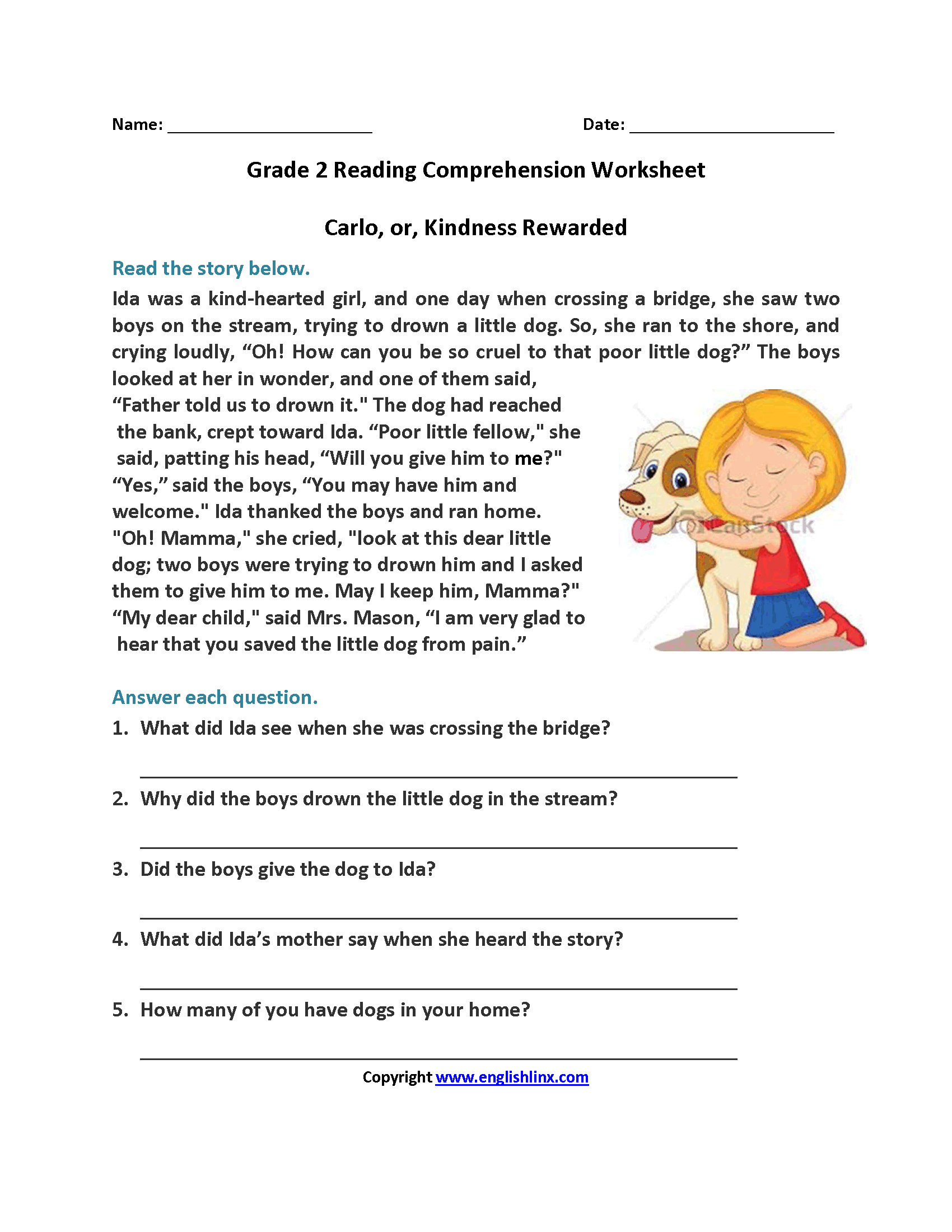 Carlo Or Kindness Rewarded Second Grade Reading Worksheets | Reading | Free Printable Comprehension Worksheets For Grade 5