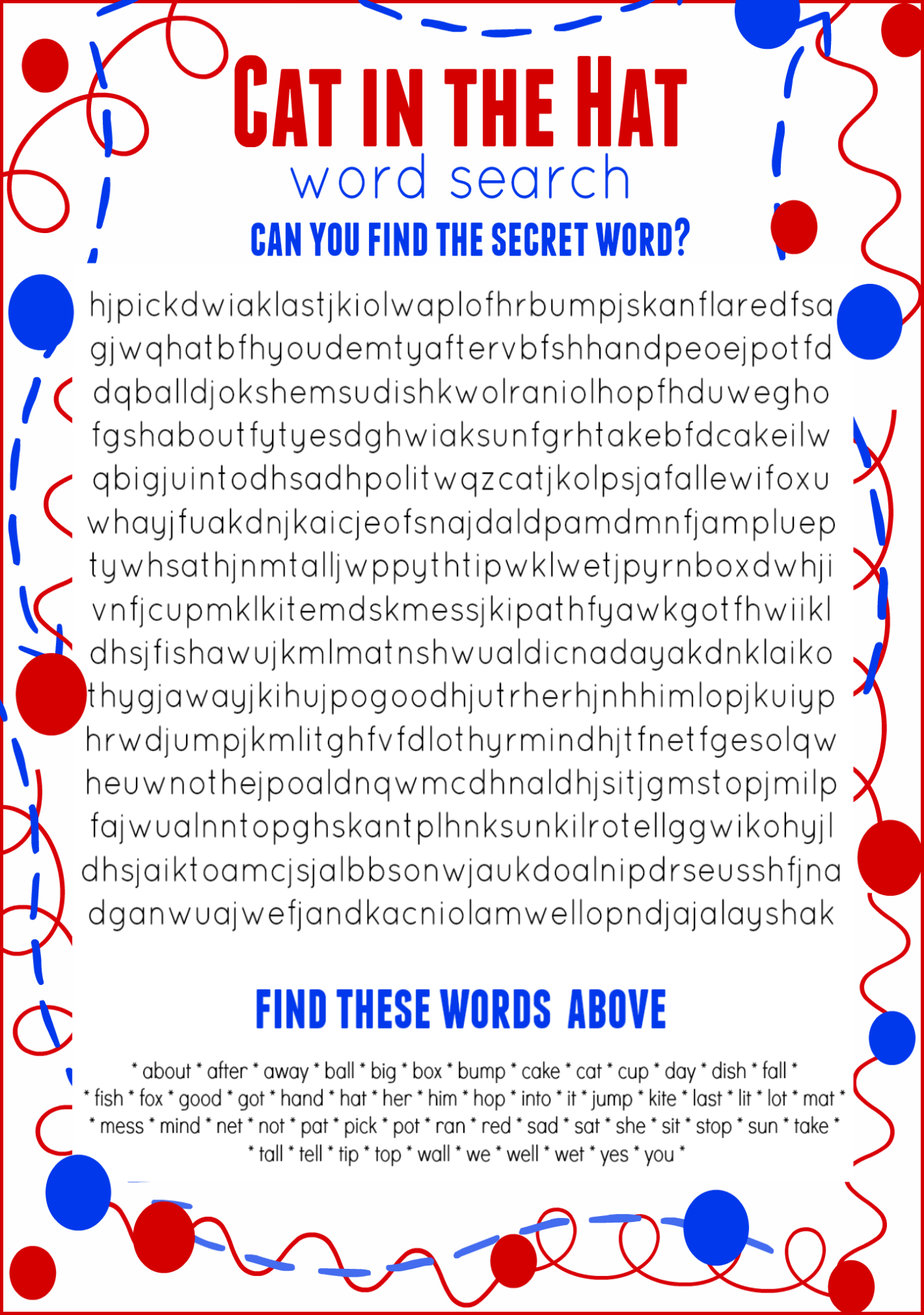 Cat In The Hat Word Search Free Printable Dr. Seuss Birthday | Cat In The Hat Free Printable Worksheets