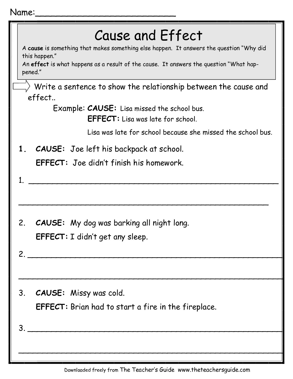 Cause And Effect Worksheets From The Teacher's Guide | Free Printable Cause And Effect Worksheets For Third Grade