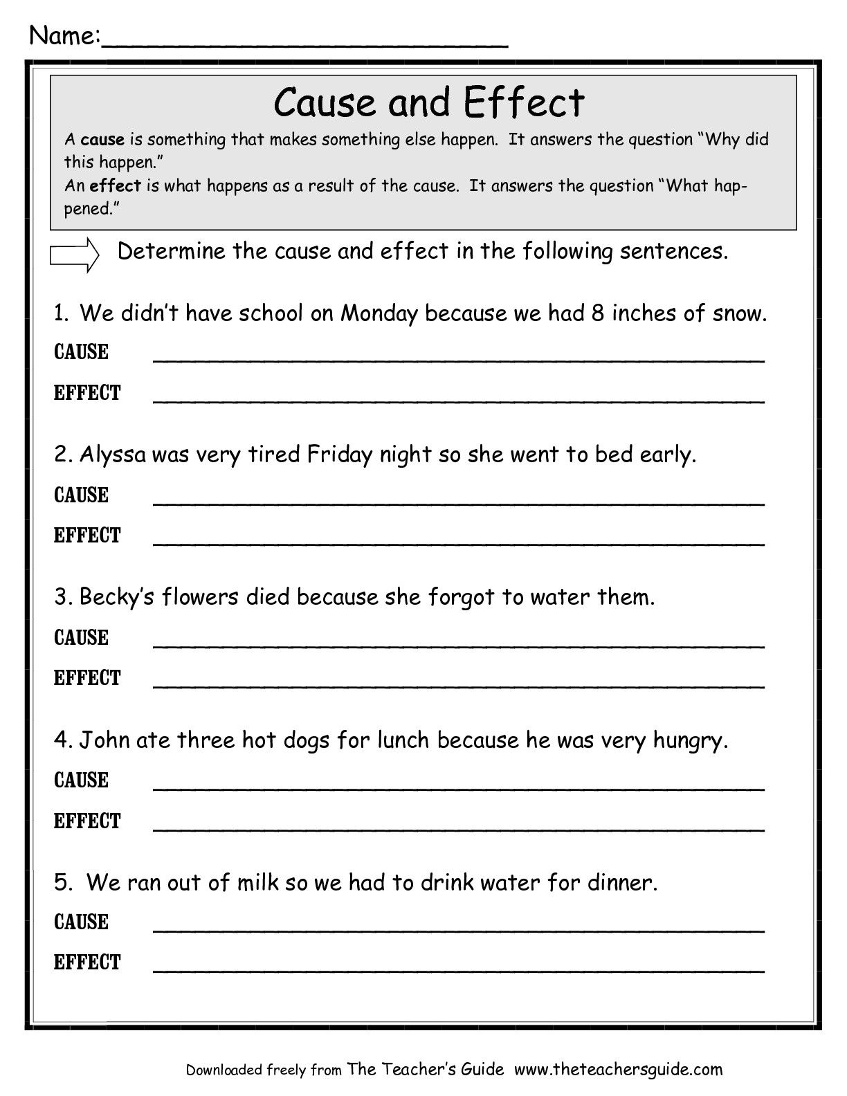 Cause And Effect Worksheets - Google Search | Education | Cause | Free Printable Cause And Effect Worksheets For Third Grade