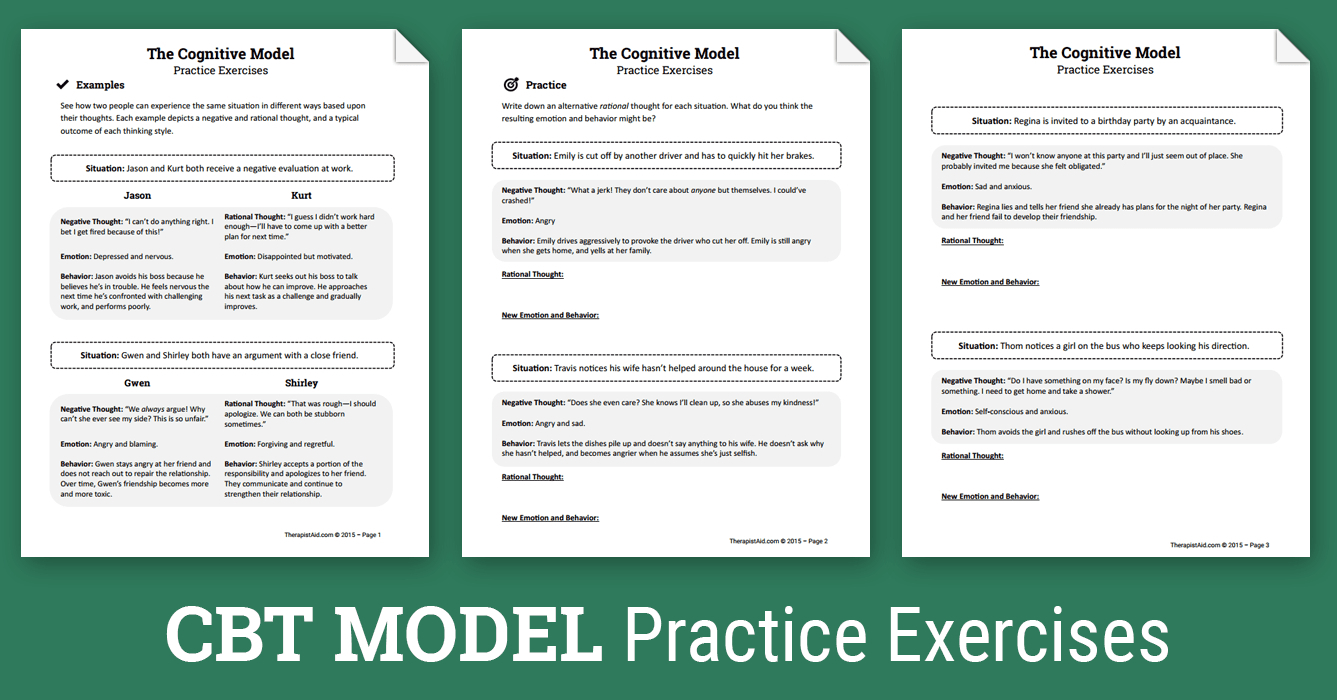 Cbt Practice Exercises (Worksheet) | Therapist Aid - Free Printable | Free Printable Therapy Worksheets