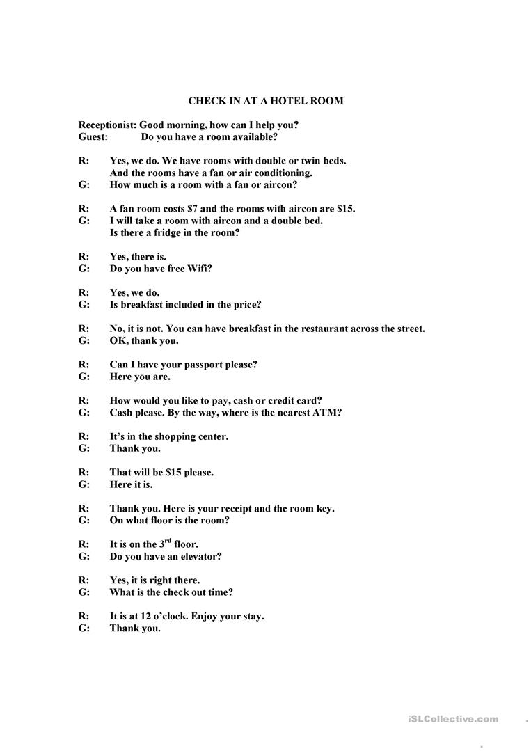 Check In At Hotel Or Guesthouse Dialogue Worksheet - Free Esl | Hospitality Worksheets Printable