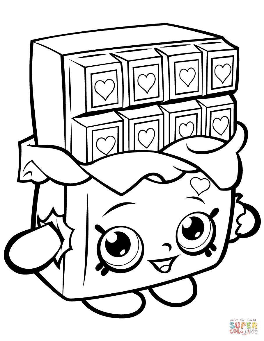 Chocolate Cheeky Shopkin Coloring Page | Free Printable Coloring | Colouring Worksheets Printable