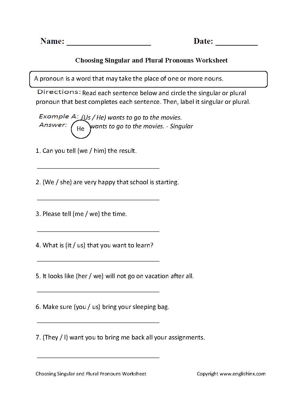 Choosing Singular Or Plural Pronouns Worksheet | School Stuff - Free | Free Printable Pronoun Worksheets For 2Nd Grade