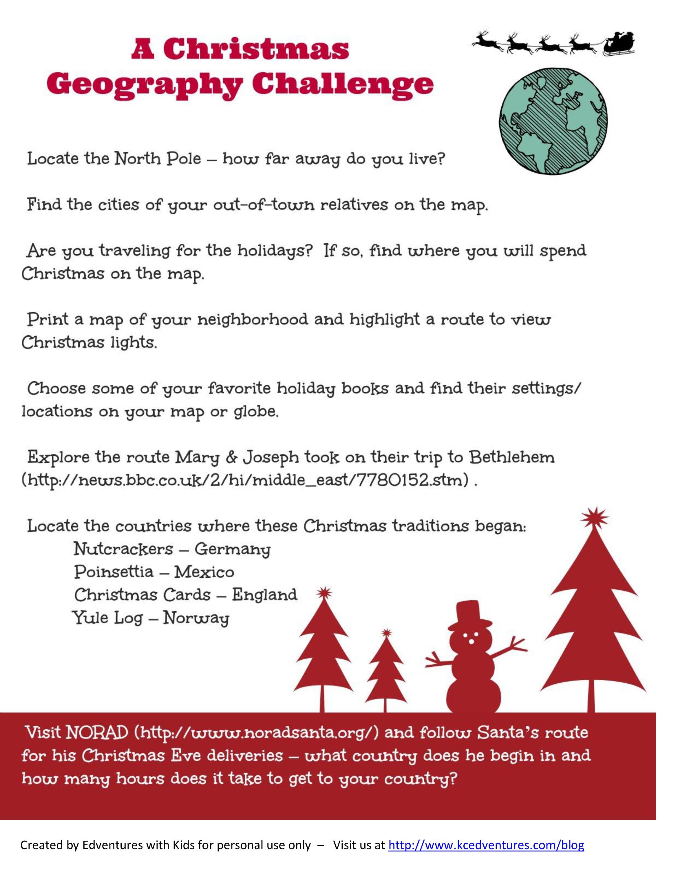 Christmas Around The World: Santa's Name (Free Printable | Christmas Around The World Worksheets Printables