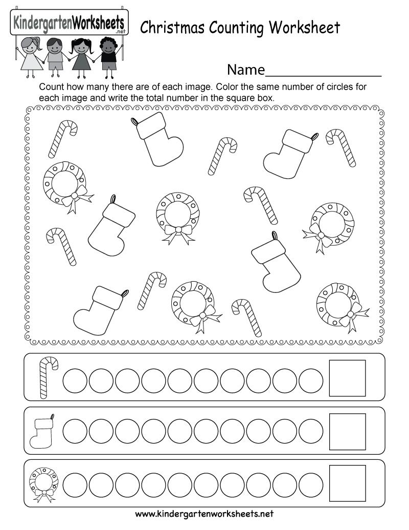 Christmas Counting Worksheet - Free Kindergarten Holiday Worksheet | Christmas Worksheets Printables
