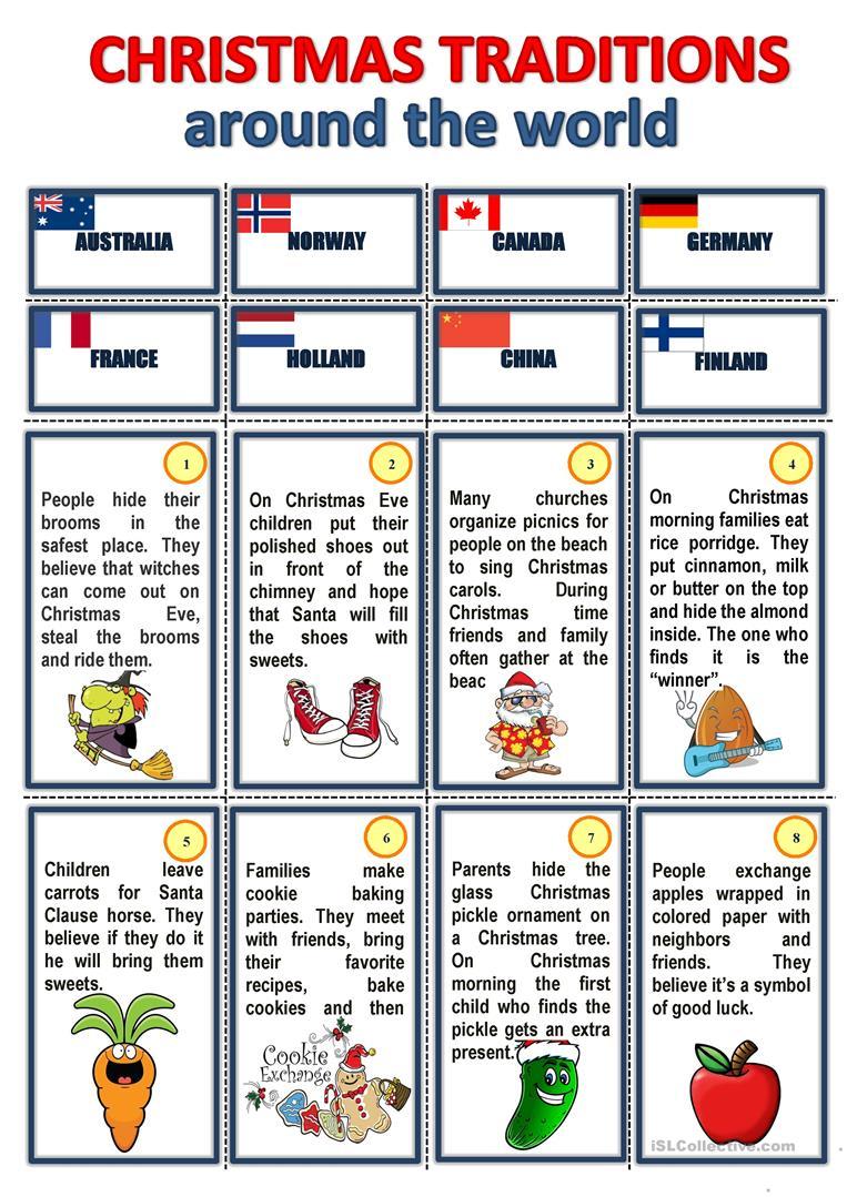 Christmas Traditions Around The World Worksheet - Free Esl Printable | Christmas Around The World Worksheets Printables