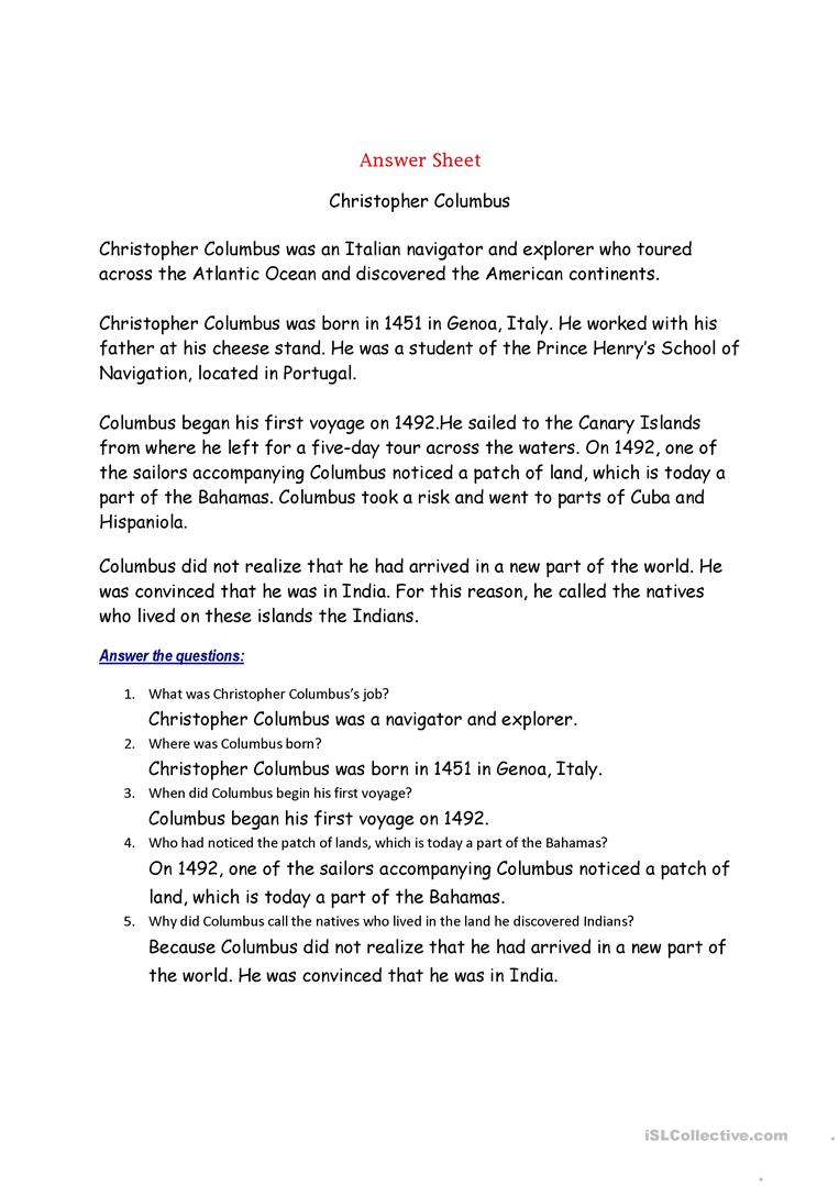 Christopher Columbus Worksheet - Free Esl Printable Worksheets Made | Christopher Columbus Printable Worksheets