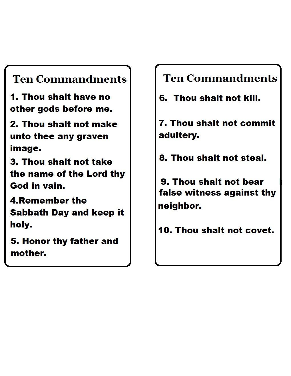 Church House Collection Blog: Ten Commandments Template | 10 Commandments Printable Worksheets