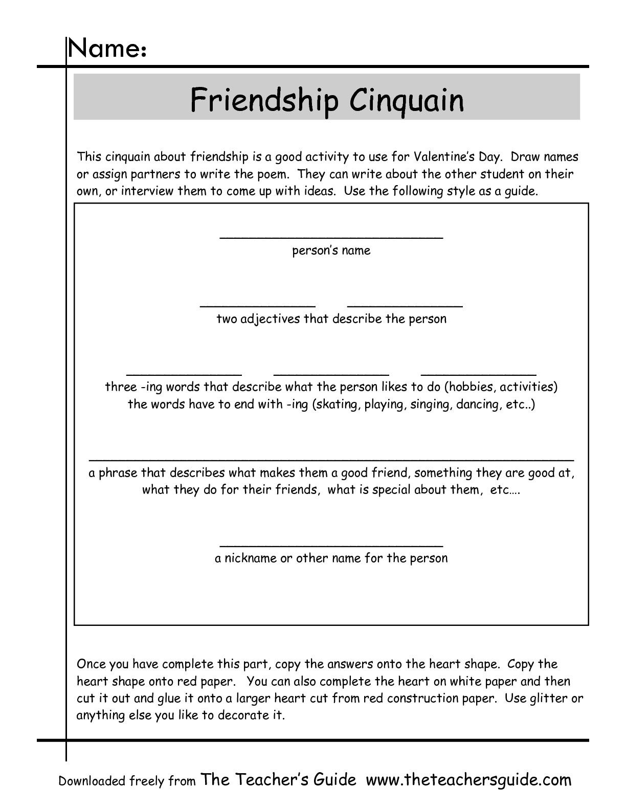 Cinquain Poems Worksheets From The Teacher's Guide | Poetry Worksheets Printable