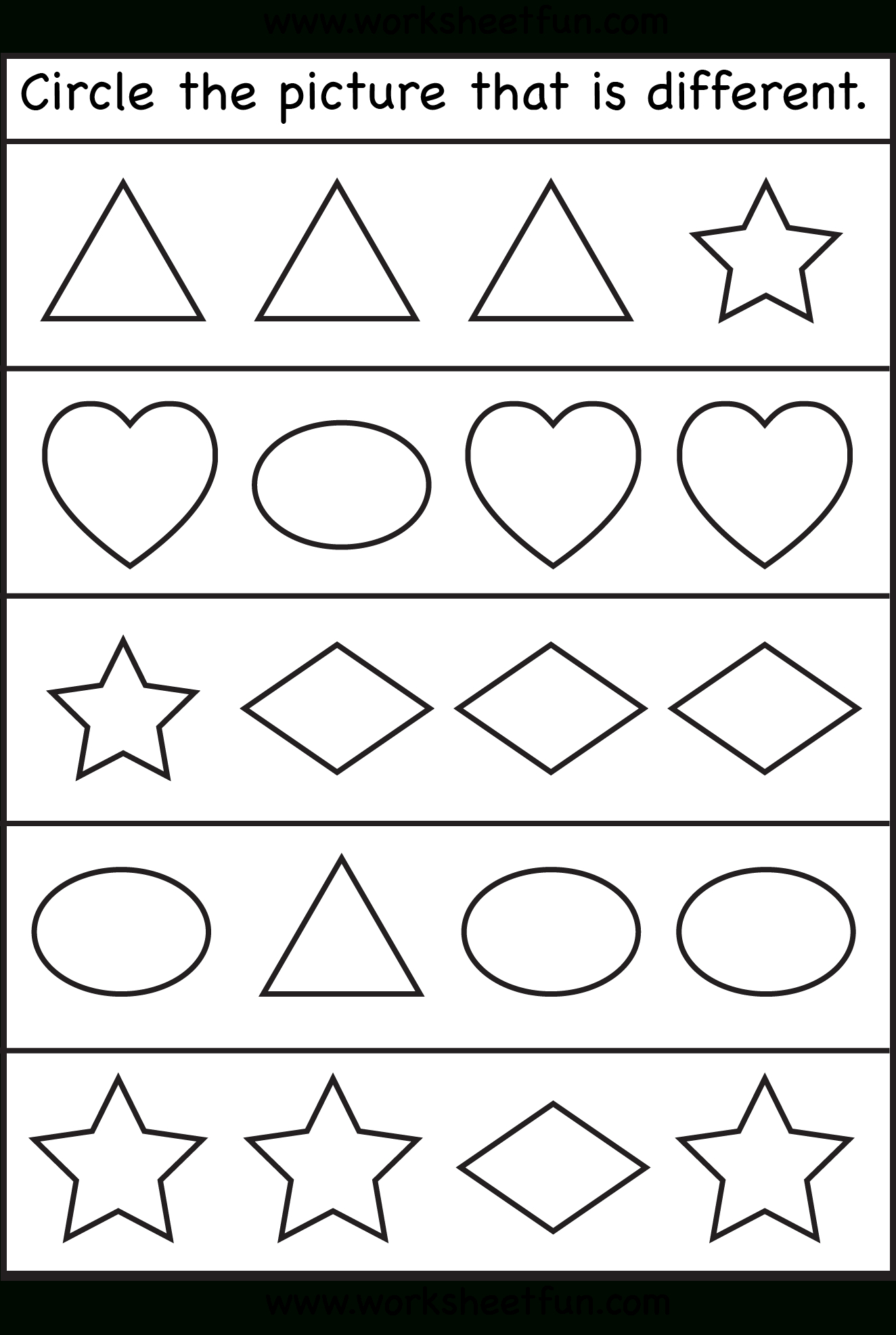 Circle The Picture That Is Different – 1 Worksheet / Free Printable | Circle Printable Worksheets