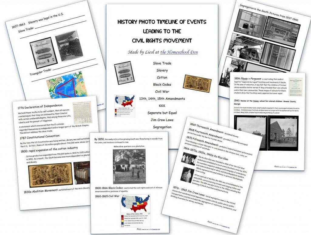 Civil Rights Movement - Homeschool Den   Civil Rights Movement Worksheets Printable