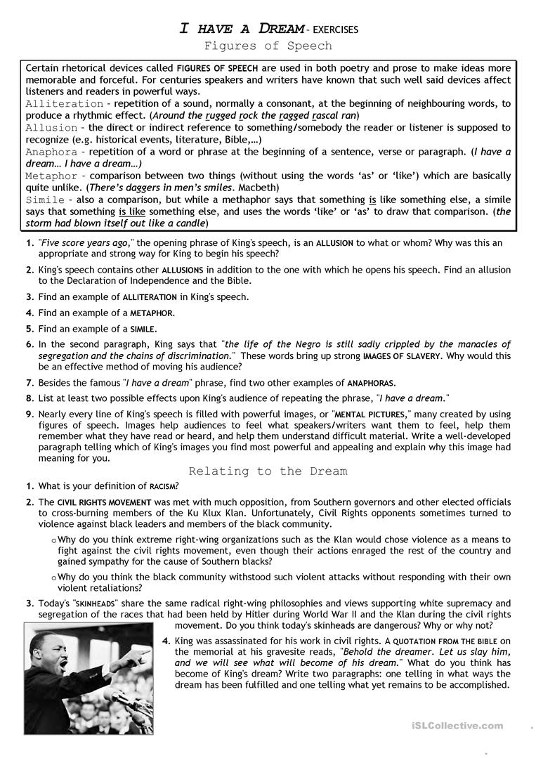 Civil Rights Movement_ I Have A Dream Worksheet - Free Esl Printable   Civil Rights Movement Worksheets Printable