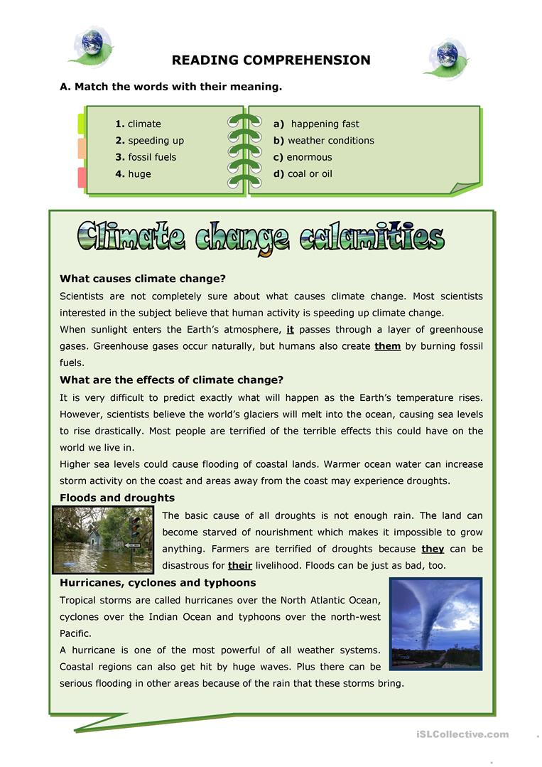 Climate Change Calamities Worksheet - Free Esl Printable Worksheets | Climate Change Printable Worksheets