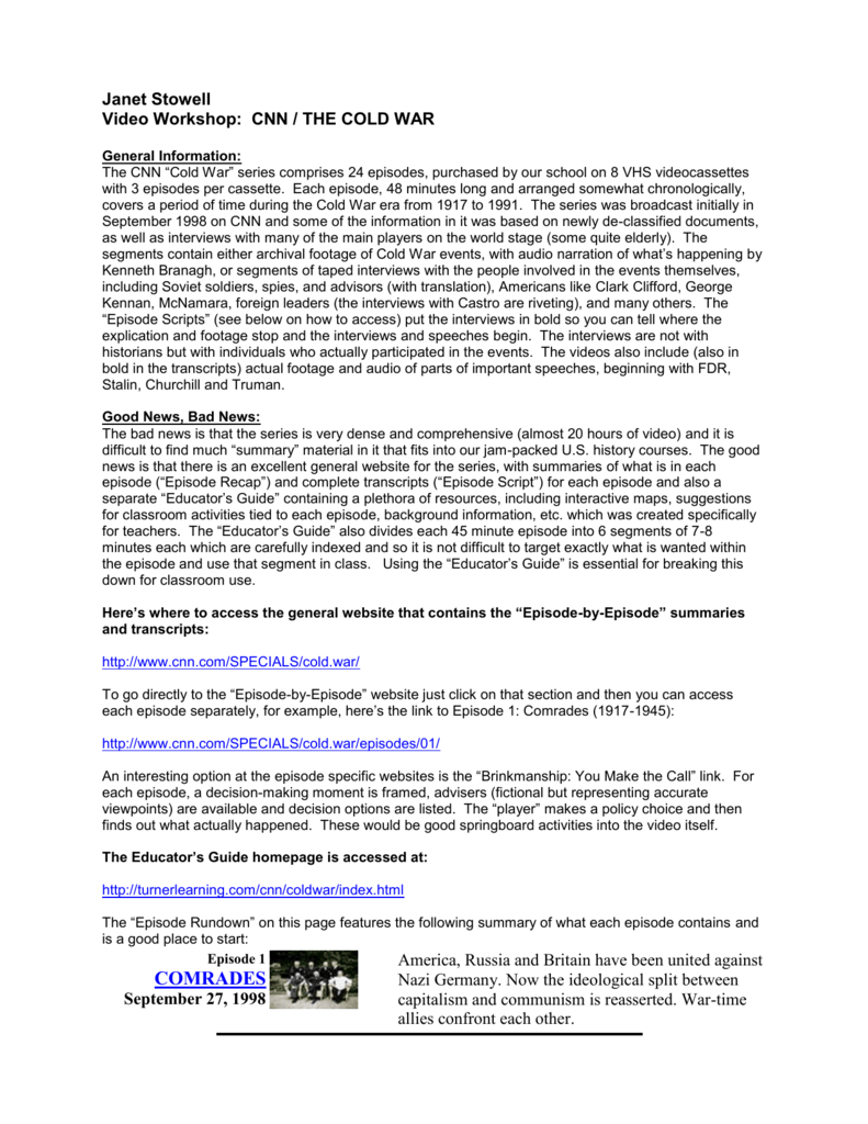 Cold War - Deerfield High School | Cold War Printable Worksheets
