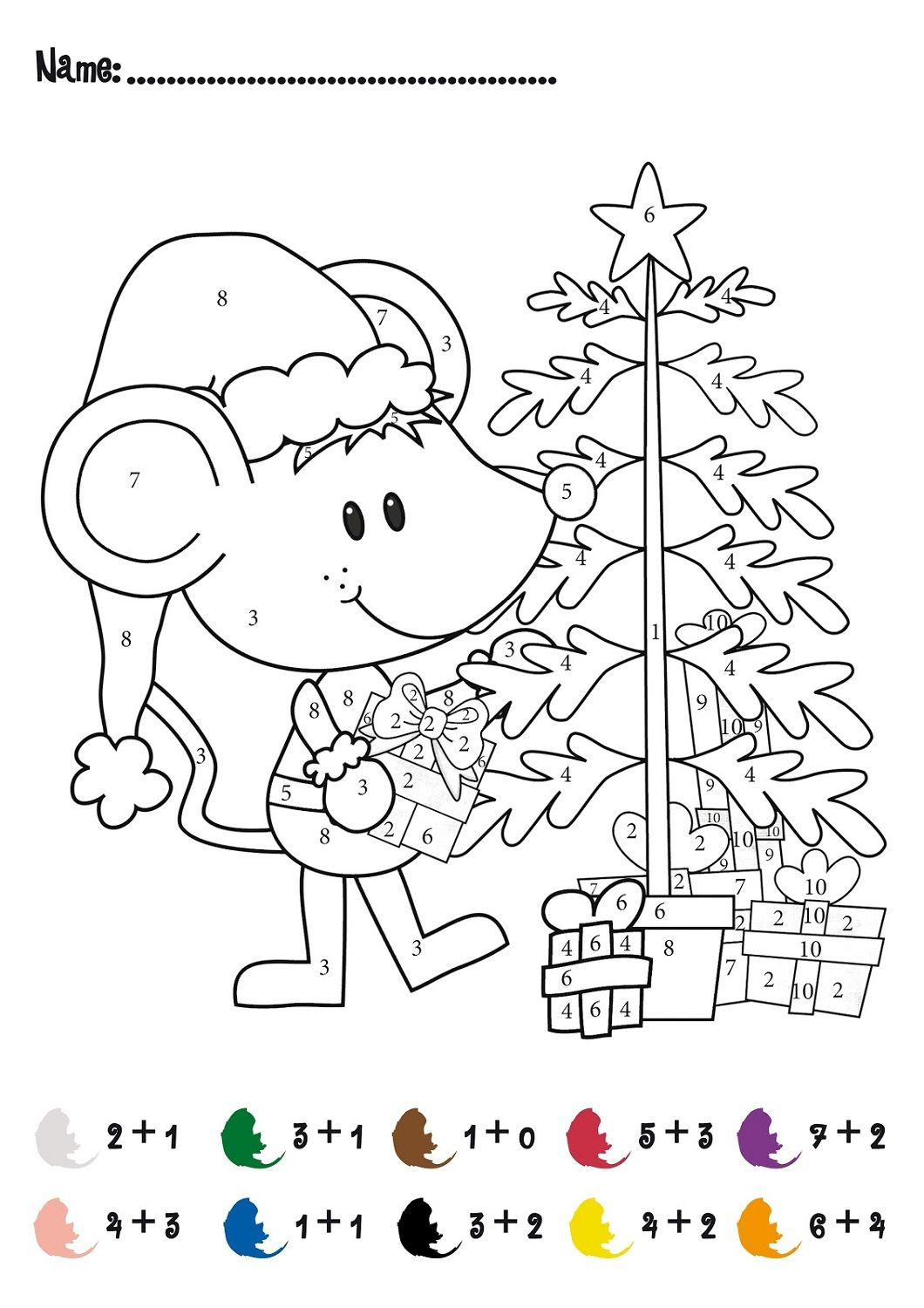 Color-By-Number-Worksheet-Christmas | 2Nd Grade Party | Math | Free Printable Christmas Math Worksheets For 2Nd Grade