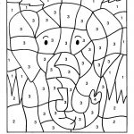Color By Numbers Elephant Coloring Pages For Kids Printable | Printable Color By Number Math Worksheets