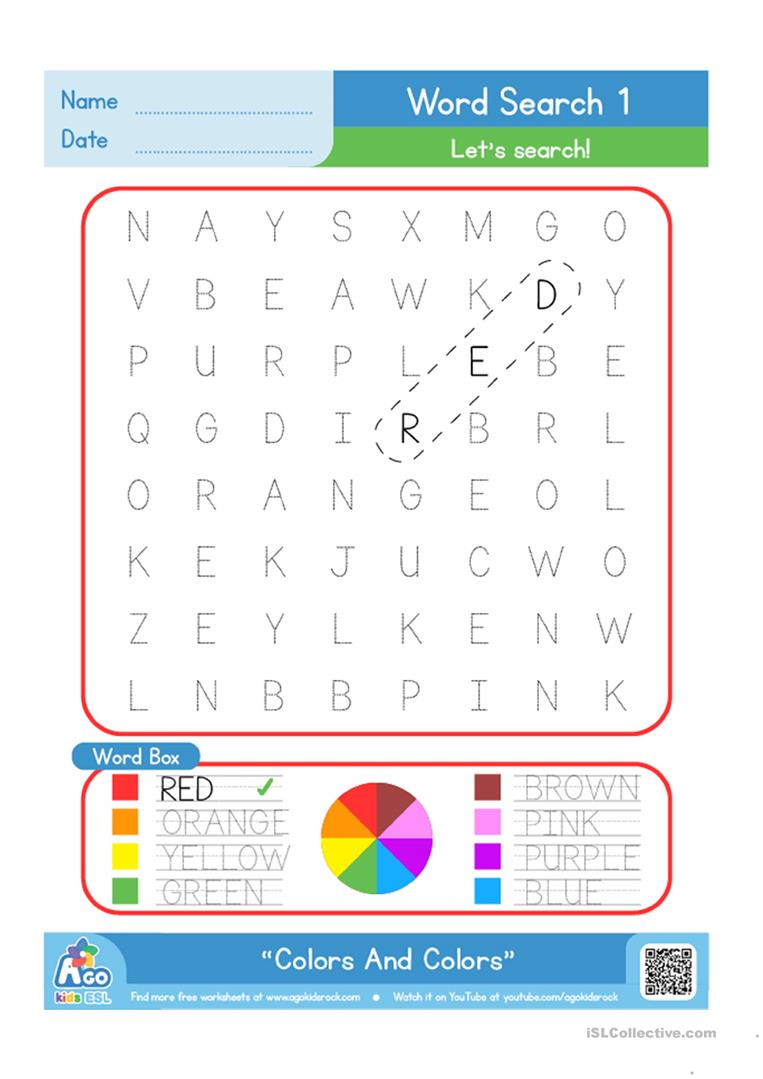 Color / Colours Word Search Plus Writing Practice Worksheet - Free | Colours Wordsearch Printable Worksheets