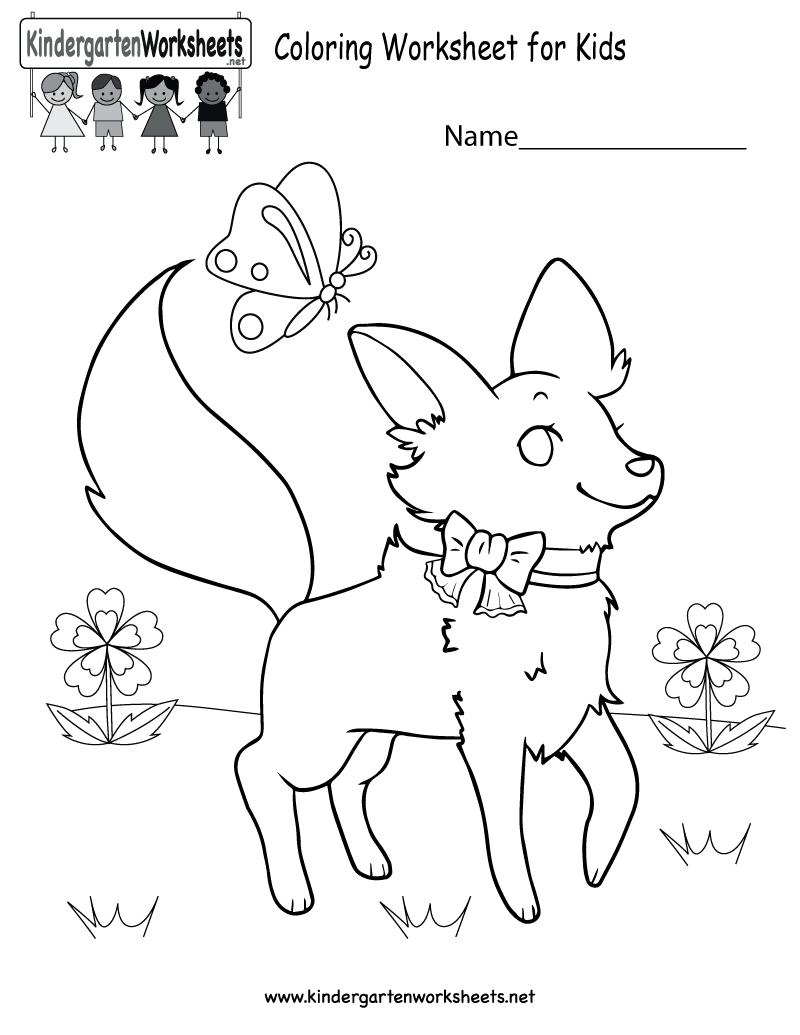 Coloring Worksheet For Kids - Free Kindergarten Learning Worksheet | Free Printable Coloring Worksheets For Kindergarten