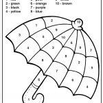 Colornumbers Umbrella   Homeschool Kindergarten   Kindergarten   Free Printable Color By Number Addition Worksheets