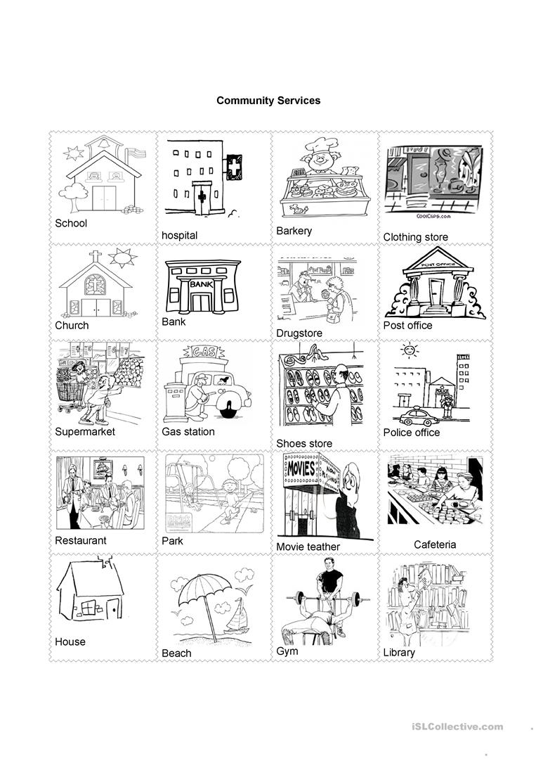Community Services Worksheet - Free Esl Printable Worksheets Made | Community Service Printable Worksheets