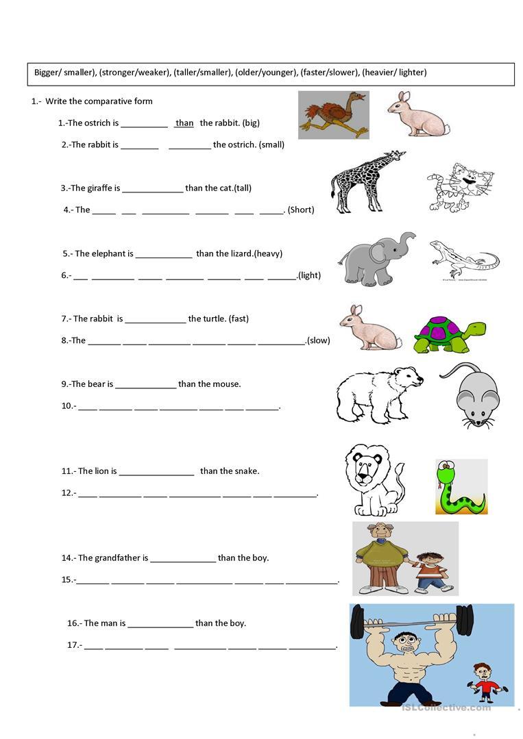 Comparative Exercise Worksheet - Free Esl Printable Worksheets Made | Comparative Worksheets Printable