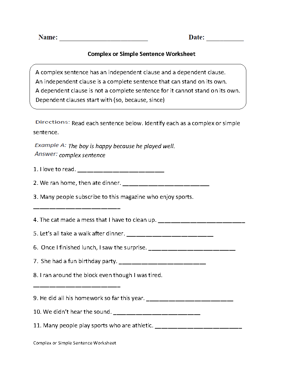 Complex Or Simple Sentence Worksheet | Englishlinx Board | Free Printable Worksheets On Simple Compound And Complex Sentences