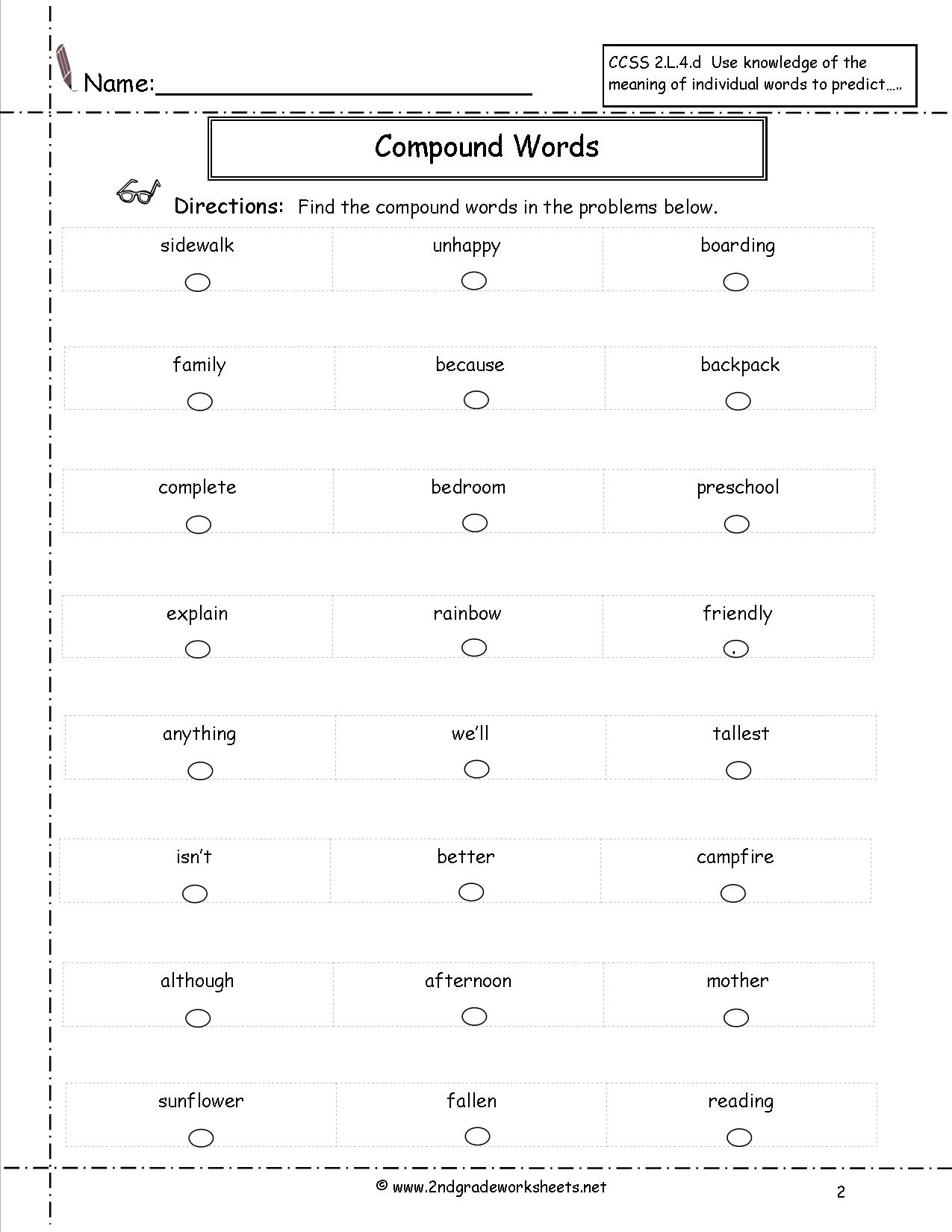 Compound Words Worksheets | Free Printable Compound Word Worksheets