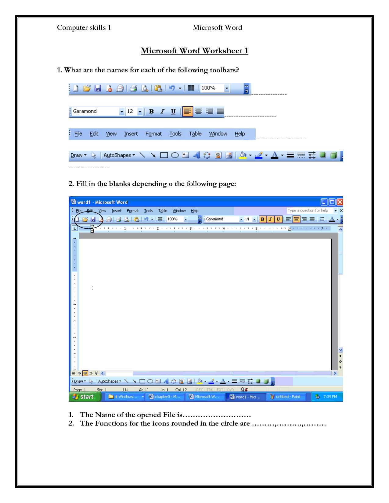 Computer Skills Worksheets | Computer Skills 1 Microsoft Word | Parts Of A Computer Worksheet Printable