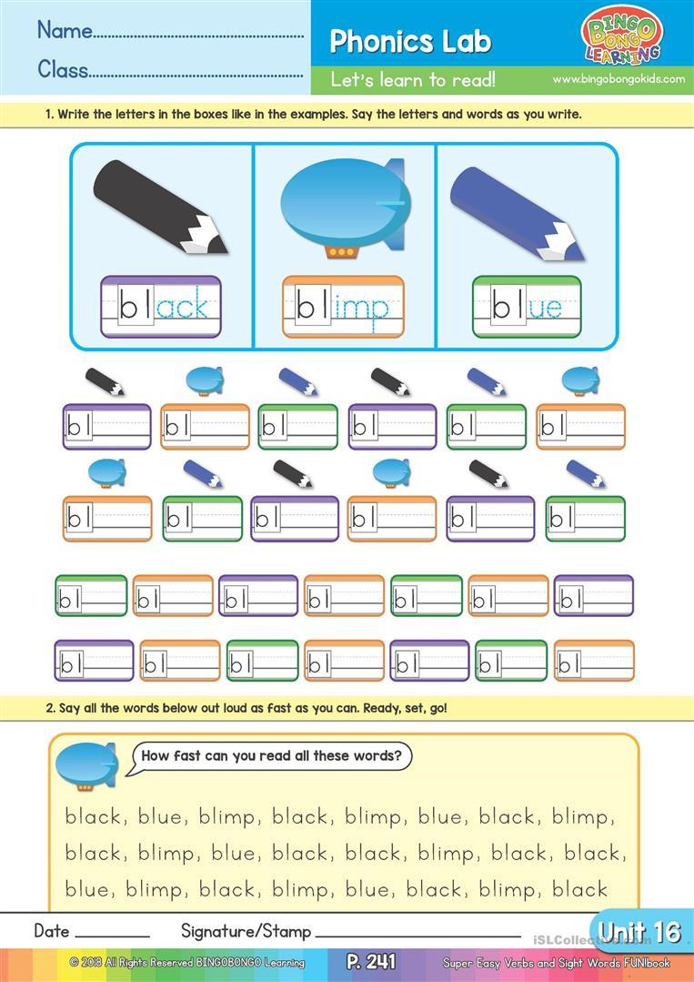 Consonant Blends - Bingobonic Phonics From Bingobongo Learning | Free Printable Consonant Blends Worksheets
