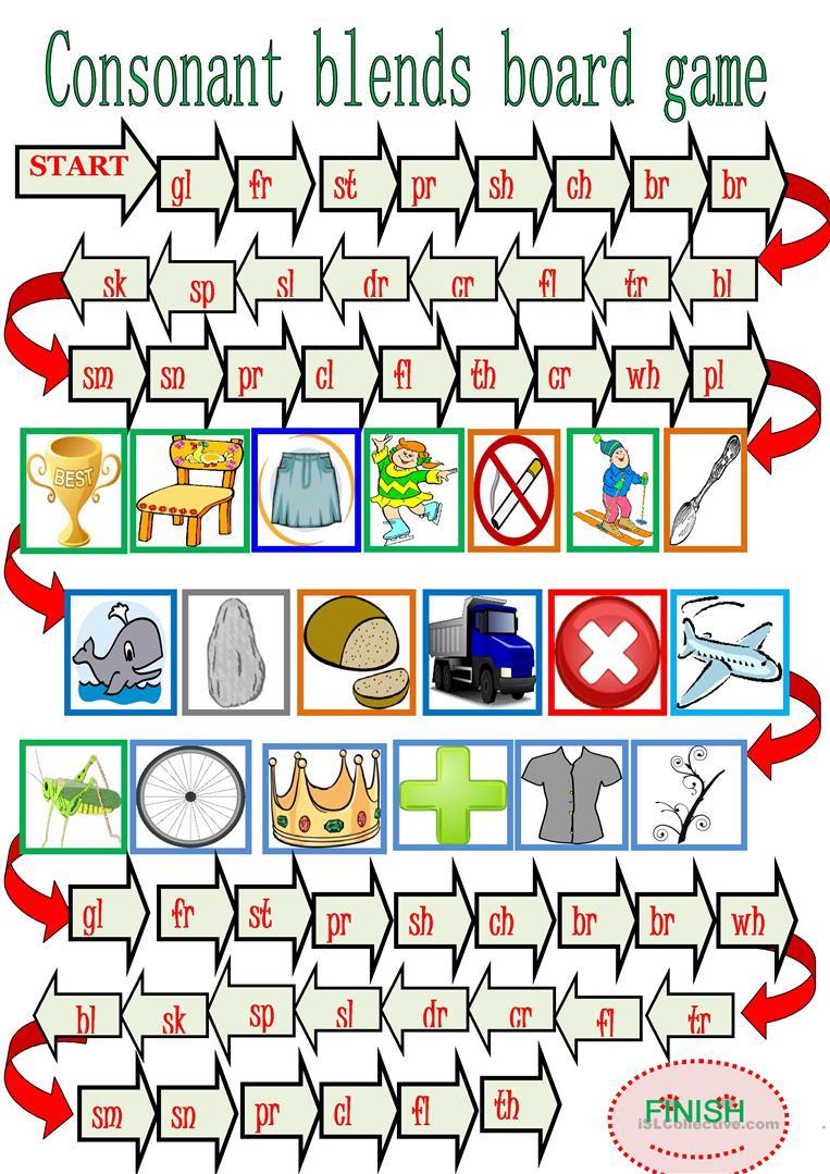 Consonant Blends Board Game. Worksheet - Free Esl Printable | Free Printable Consonant Blends Worksheets