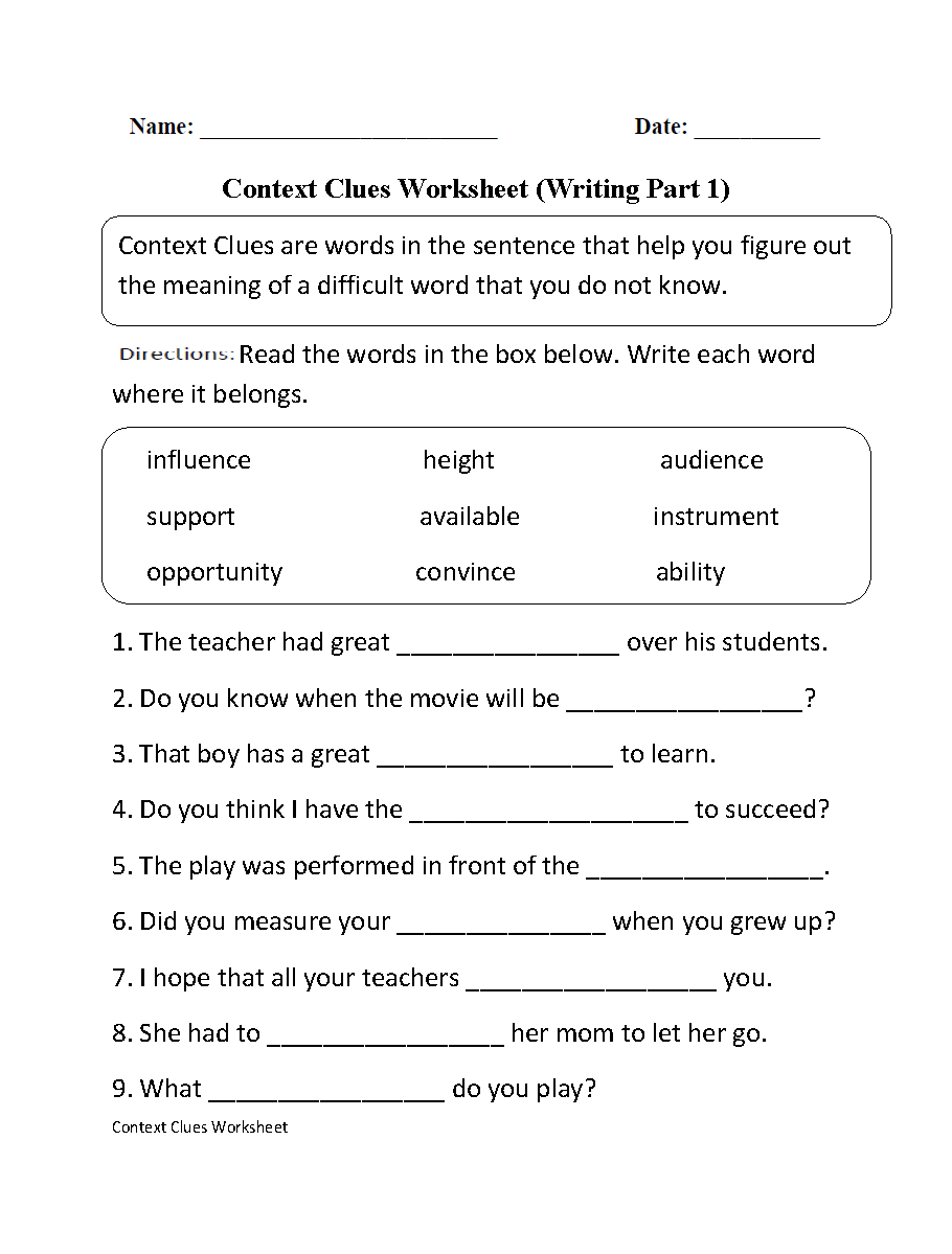 Context Clues Worksheet Writing Part 1 Intermediate--Free Worksheets | Free Printable Language Arts Worksheets 7Th Grade