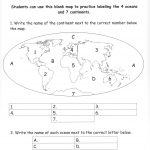 Continents And Oceans Of The World Worksheet Worksheets For All | Continents Worksheet Printable
