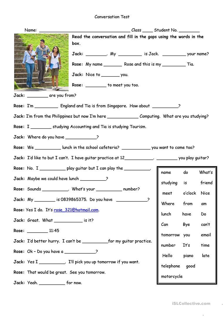 Conversation Test Worksheet - Free Esl Printable Worksheets Made | Free Printable English Conversation Worksheets
