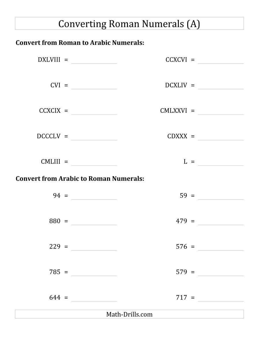 Converting Roman Numerals Up To M To Standard Numbers (A) | Printable Roman Numerals Worksheets