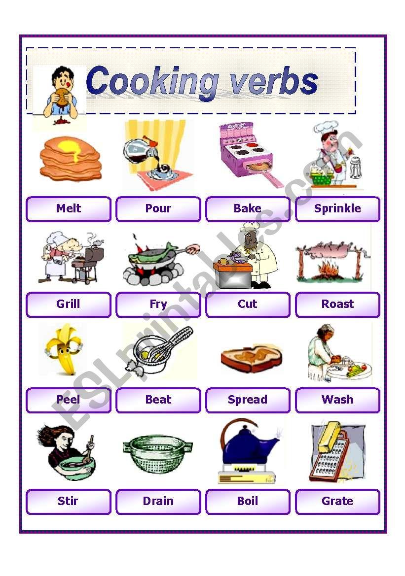 Cooking Verbs 2 - Esl Worksheetawsana | Cooking Verbs Printable Worksheets