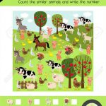 Counting Game Of Farm Animals For Preschool Kids Activity Worksheet | Farm Animals Printable Worksheets