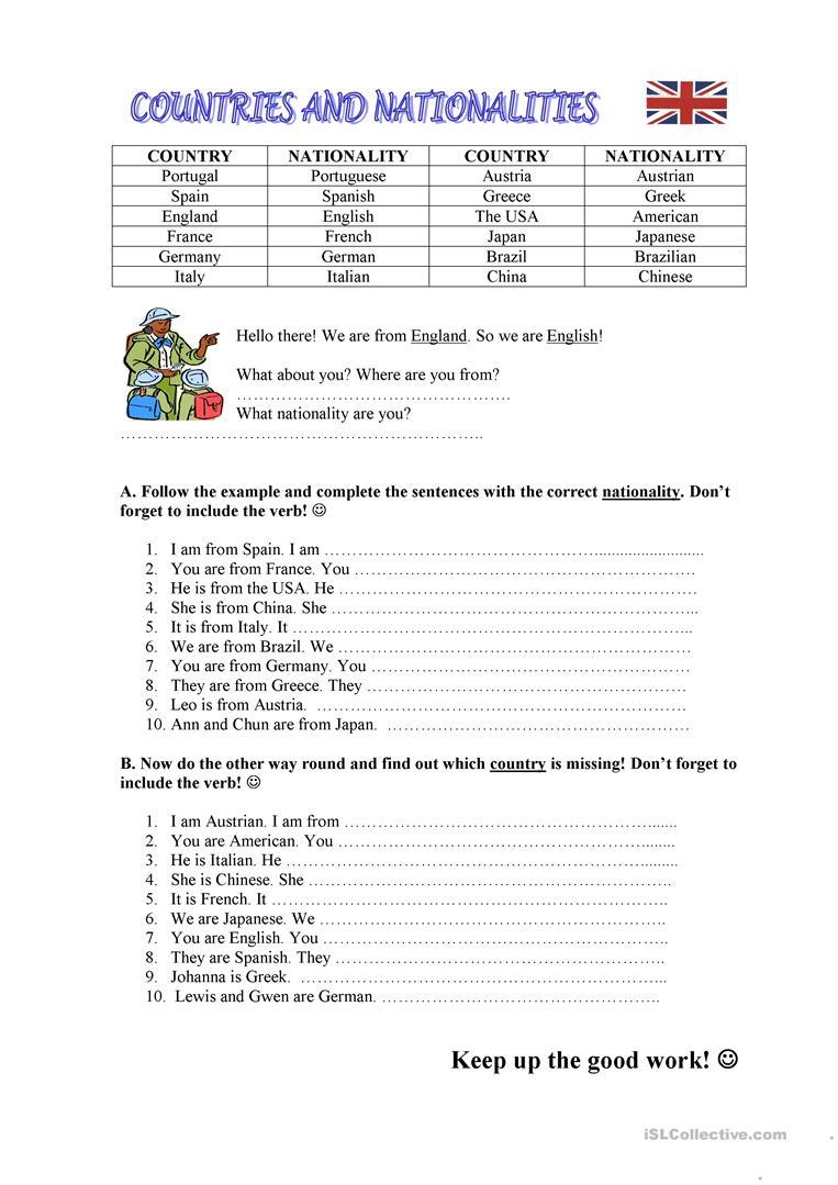 Countries / Nationalities Worksheet - Free Esl Printable Worksheets | Primary 1 Chinese Worksheets Printables