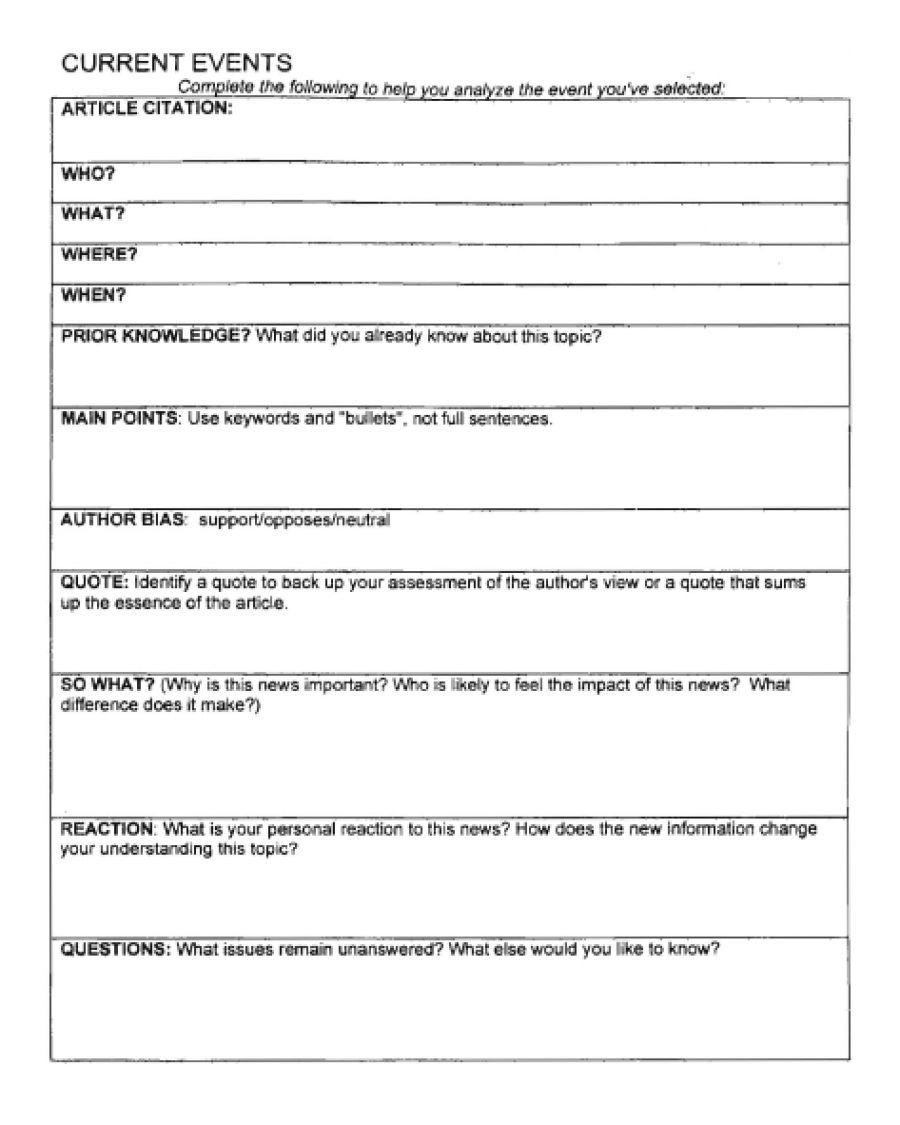 Current Event Outline   Ideas   High School Health, Current Events   Current Events Printable Worksheet