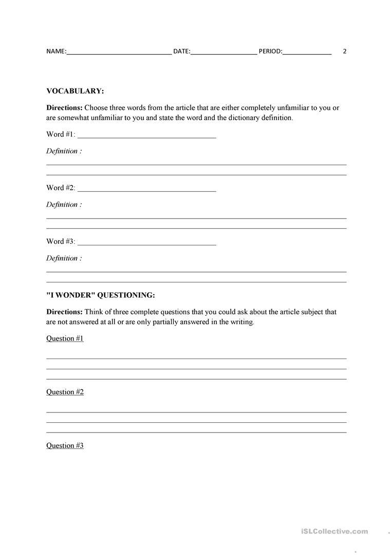 Current Events Template Worksheet - Free Esl Printable Worksheets   Current Events Printable Worksheet