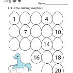 Cute Dinosaur Fill In The Missing Numbers Worksheet To Download | Free Printable Missing Number Worksheets