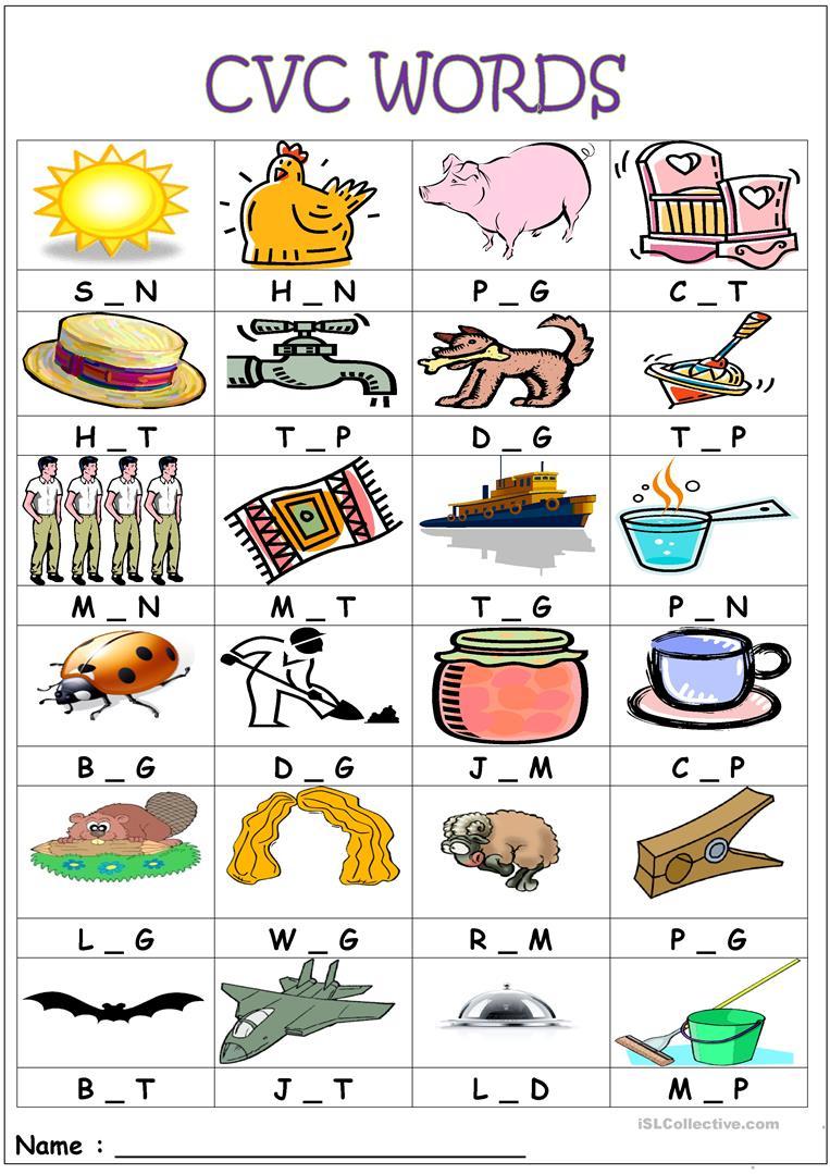 Cvc Words- Medial Sounds Worksheet - Free Esl Printable Worksheets | Cvc Worksheet Printable