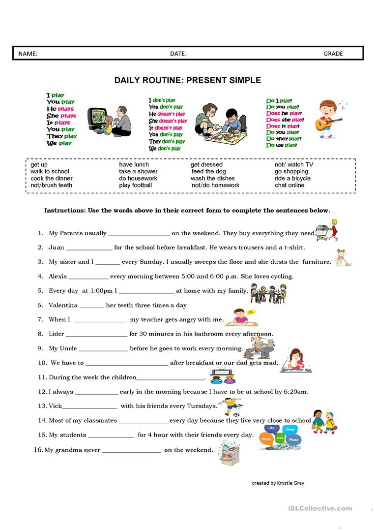 Daily Routine: Present Simple Worksheet - Free Esl Printable | Daily Routines Printable Worksheets