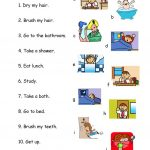 Daily Routines 1   Match Worksheet   Free Esl Printable Worksheets | Daily Routines Printable Worksheets