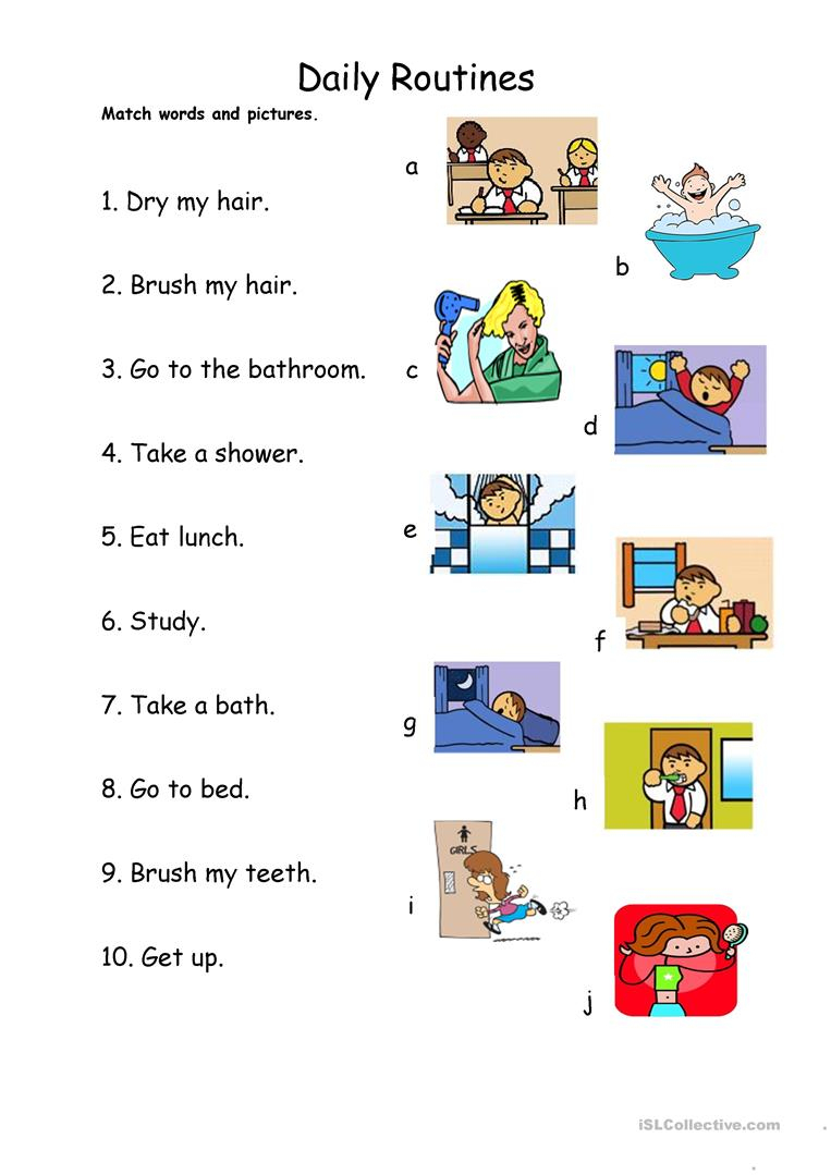 Daily Routines 1 - Match Worksheet - Free Esl Printable Worksheets | Daily Routines Printable Worksheets